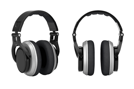 Black Wireless Headphones extreme closeup on a white background. 3d Rendering