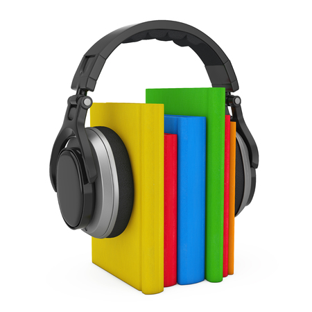 audio book: Audio Book Concept. Black Wireless Headphones with Books on a white background. 3d Rendering