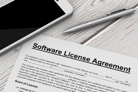 Software License Agreement with Mobile Phone and Pen on a wooden table. 3d Rendering