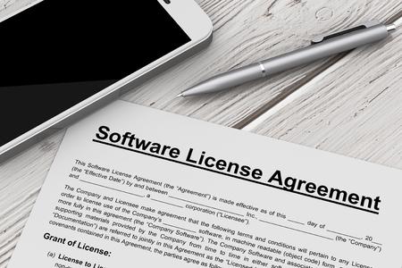 Softwarelicentieovereenkomst met mobiele telefoon en pen op een houten tafel. 3D-rendering Stockfoto