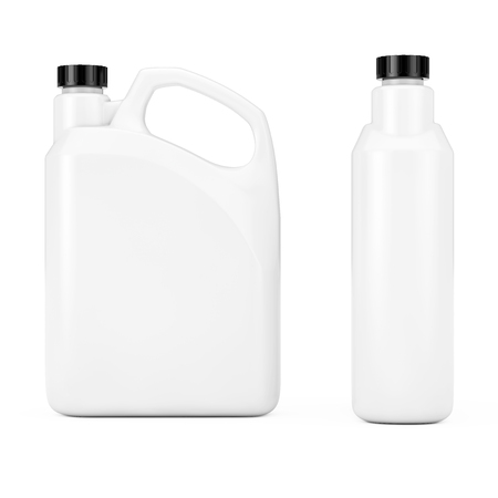 White Plastic Blank Container Canister with Blank Space for Yours Design on a white background. 3d Rendering.