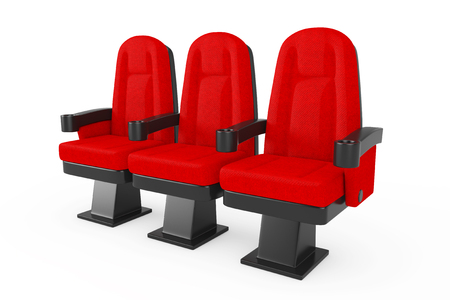 Red Cinema Movie Theater Comfortable Chairs on a white background. 3d Rendering Stock Photo