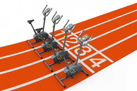 Stationary Exercise Bike Gym Machines over Abstract Bike Track on a white background. 3d Rendering