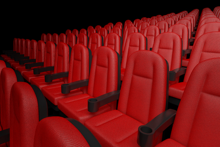 Rows of Red Cinema Movie Theater Comfortable Chairs on a black background. 3d Rendering Stock Photo