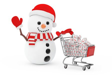 Christmas Sale Concept. Snowman in Santa Claus Hat Driven by a Shopping Cart with White Discount Cubes on a white background. 3d Rendering
