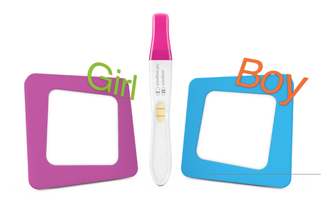 Positive Plastic Pregnancy Test Between Photo Frames With Girl ...