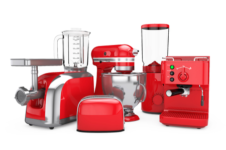 Kitchen Appliances Set. Red Blender, Toaster, Coffee Machine, Meat Ginder, Food Mixer and  Coffee Grinder on a white background. 3d Rendering Foto de archivo