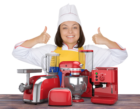 Kitchen Appliances Set. Beautiful Young Woman Chef Show Thumbs Up near Red Blender, Toaster, Coffee Machine, Meat Ginder, Food Mixer and  Coffee Grinder on a white background. 3d Rendering