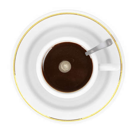 Top View of a Cup of Coffee on a white background. 3d Rendering.  Stock Photo
