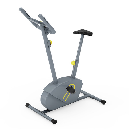 Stationary Exercise Bike Gym Machine on a white background. 3d Rendering
