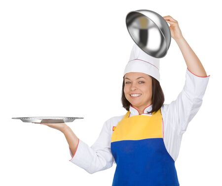 Beautiful Young Woman Chef with Restaraunt Cloche on a white background Stock Photo