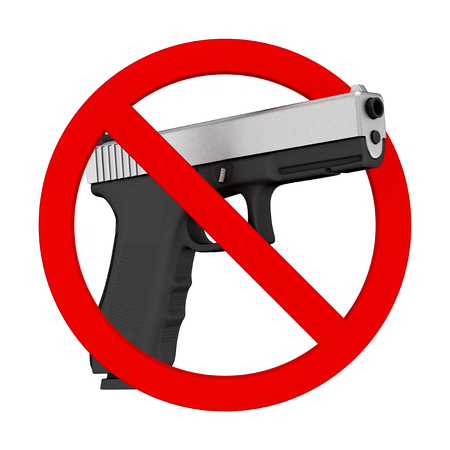 No weapons concept. Powerful Metalic Police or Military Pistol Gun with Prohibition Sign on a white background. 3d Rendering Stock Photo
