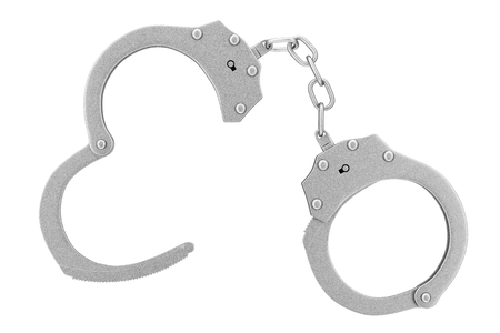 Misdaad en recht concept. Metaalhandcuffs op een witte achtergrond. 3D-rendering
