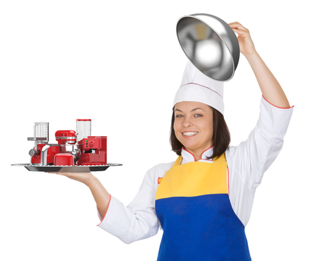 Kitchen Appliances Set. Beautiful Young Woman Chef with Red Blender, Toaster, Coffee Machine, Meat Ginder, Food Mixer and Coffee Grinder in Restaraunt Cloche on a white background. 3d Rendering