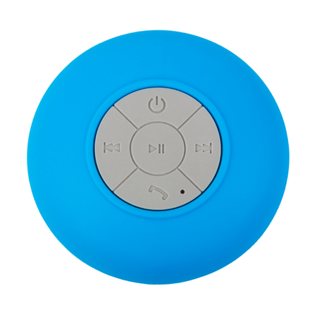 Mini Blue Waterproof Wireless Loudspeaker with Mobile Phone Control Knobs on a white background Banque d'images