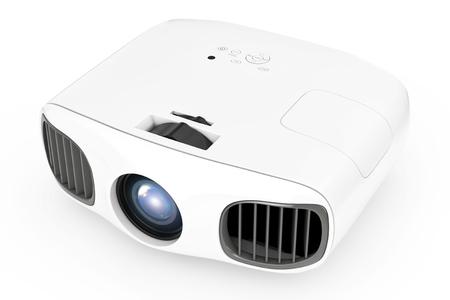 Home Cinema Entertainment Full HD-projector op een witte achtergrond. 3D-rendering Stockfoto