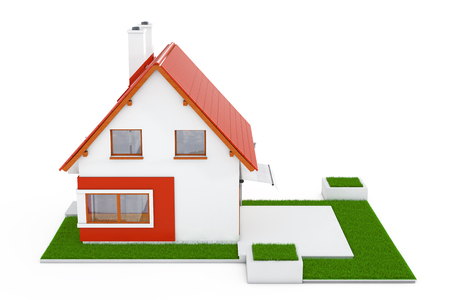 Facade of Modern Cottage House with Red Roof and Green Grass on a white background. 3d Rendering