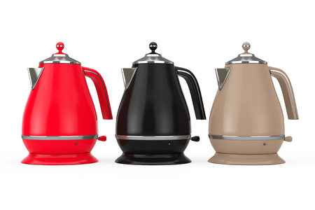 Multicolour Modern Teapot or Electric Kettle on a white background. 3d Rendering