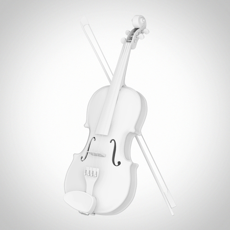 White Classical Wooden Violin with Bow in Clay Style on a white background. 3d Rendering