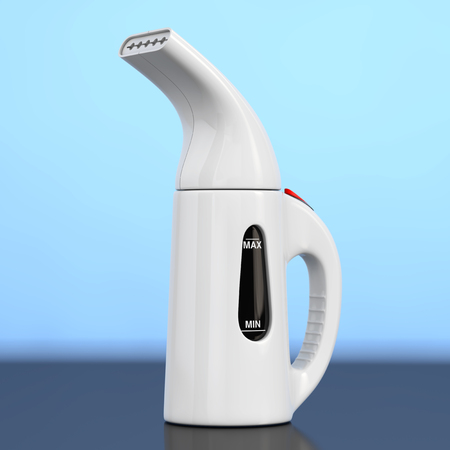 Modern Hand Steamer for Clothes on a blue background. 3d Rendering