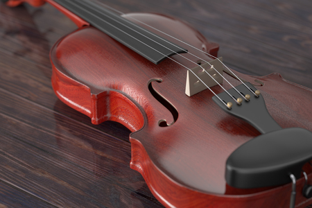 Classical Wooden Violin with Bow on a wooden table. 3d Rendering