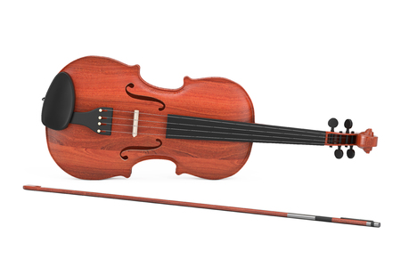 Classical Wooden Violin with Bow on a white background. 3d Rendering