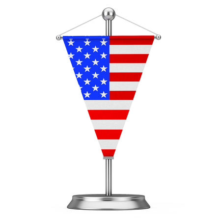 Fabric USA Table Flag on Steel Spire Pedestal on a white background. 3d Rendering Stock Photo