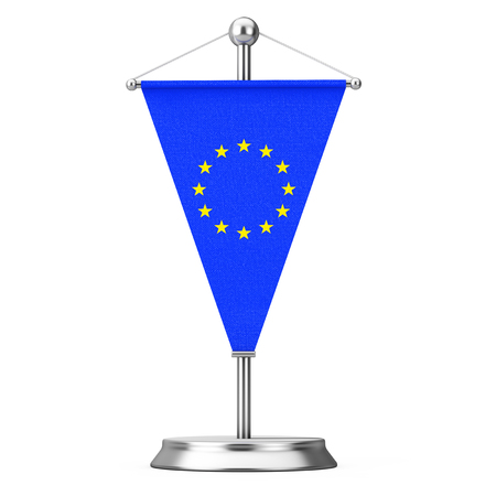 Fabric European Union Table Flag on Steel Spire Pedestal on a white background. 3d Rendering