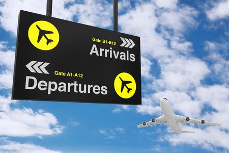青空を背景にホワイトジェット旅客機を搭載した空港出発・到着情報ボード。3D レンダリング