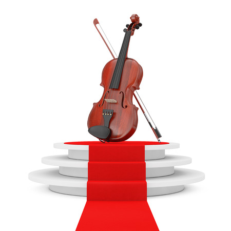 Classical Wooden Violin with Bow over Round White Pedestal with Steps and a Red Carpet on a white background. 3d Rendering Stock Photo