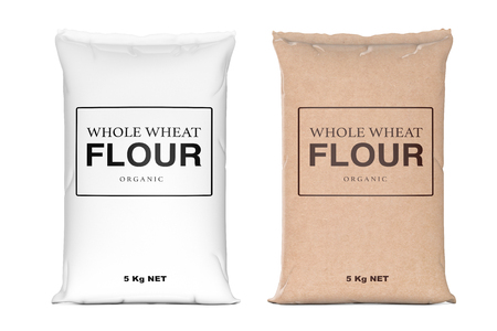 Paper Bags of Whole Wheat Organic Flour on a white background. 3d Rendering  스톡 콘텐츠
