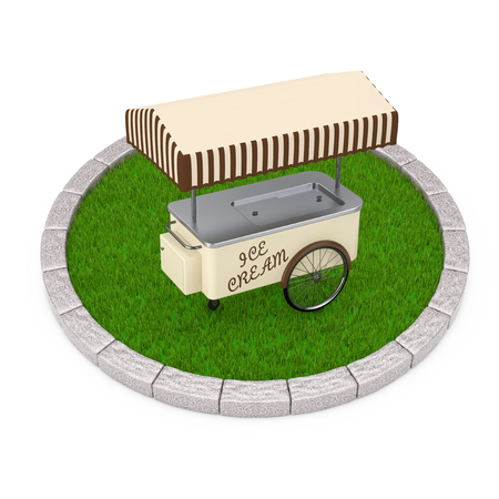 Ice Cream Cart over Round Plot of Dense Green Grass on a white background. 3d Rendering