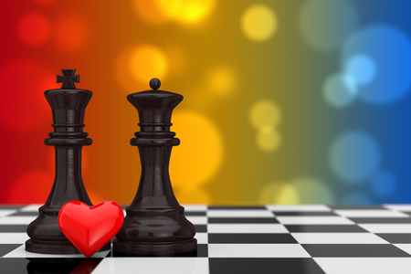 Love Concept. Chess King and Queen Figures with Red Heart over Chessboard on a multicolor background. 3d Rendering