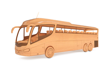 Abstract Wooden Toy Coach Tour Bus on a white background. 3d Rendering.