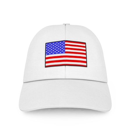 White Baseball Cap with USA Flag on a white background. 3d Rendering.