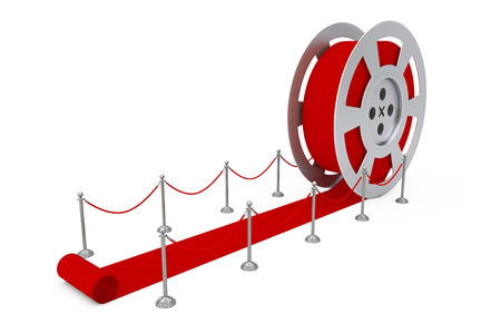 Film Reel as Red Ceremony Reward Carpet on a white background. 3d Rendering