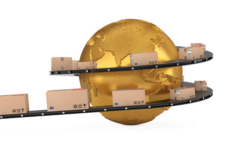 Global Shipping and Logistic Concept. Golden Earth Globe Surrounded by Cardboard Boxes with Parcel Goods over Roller Conveyor on a white background. 3d Rendering.