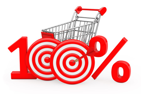 Shopping Cart Red 100 %  Sign as Darts Target with Darts Arrow on a white background. 3d Rendering.