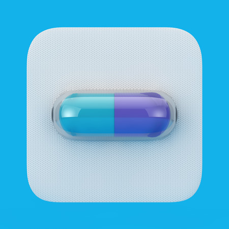 Medical Drug Capsule Pill in Blister on a blue background. 3d Rendering  Stock Photo
