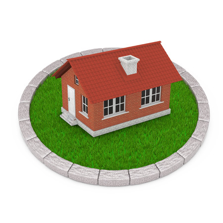 Modern Cottage House with Red Roof over Round Plot of Dense Green Grass on a white background. 3d Rendering