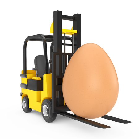 Forklift Truck moves Big Brown Easter Egg on a white background. 3d Rendering