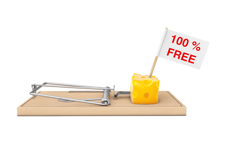 Mousetrap with 100 % Free Cheese and Flag with Bait Sign on a white background. 3d Rendering.