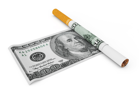Cigarette Covered with Dollar Notes on a white background. 3d Rendering