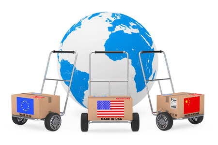 Cardboard Box with China, USA and EU Flag over Hand Truck near Earth Globe on a white background. 3d Rendering
