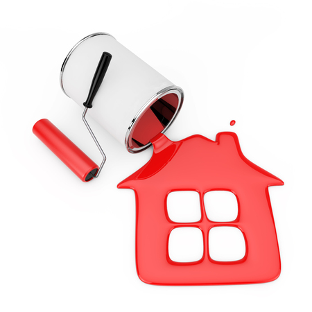 Paint Roller near Red Paint Pouring from Paint Can in House Silhouette on a white background. 3d Rendering  Stock Photo