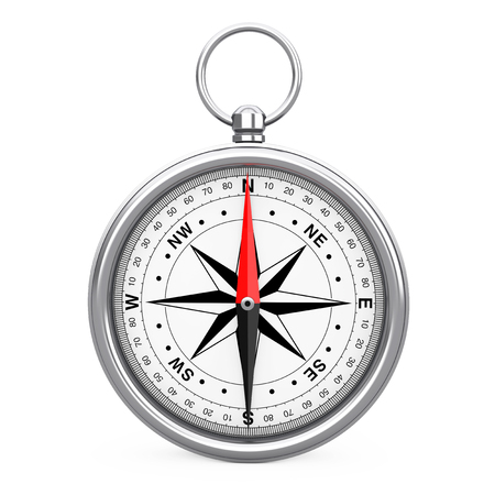 Glossy Vintage Compass with Windrose on a white background. 3d Rendering  Stock Photo