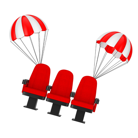 Red Cinema Movie Theater Comfortable Chairs Falling by Parachutes on a white background. 3d Rendering