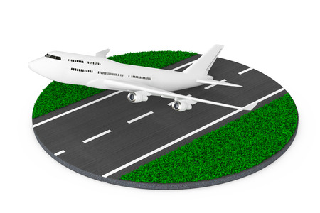 White Jet Passengers Airplane Take-off from Abstract Runway on a white background. 3d Rendering.