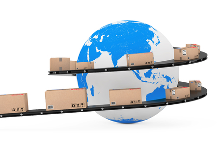 Global Shipping and Logistic Concept. Earth Globe Surrounded by Cardboard Boxes with Parcel Goods over Roller Conveyor on a white background. 3d Rendering.