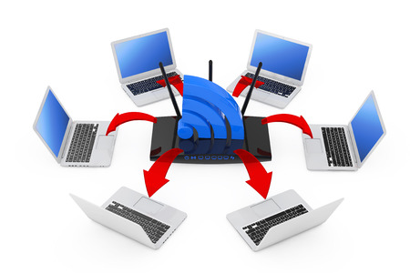 Laptops Arranged in a Circle Around a Modern WiFi Router and WiFi Sign with Glowing Red Arrows Connections on a white background. 3d Rendering